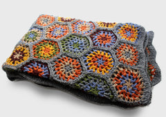Bright and Soft Colorful Flower Pattern Hand Crochet Woolen Blanket/Throw - NepaCrafts