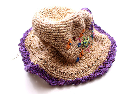 Hemp Hat with Purple Lining and Flower, Earthy Travel Hat, Hemp Tourist Hat - nepacrafts