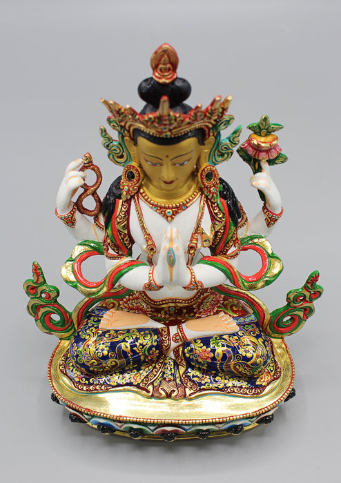 Hand Painted Four Armed White Chenrezig Partly Gold Plated Statue