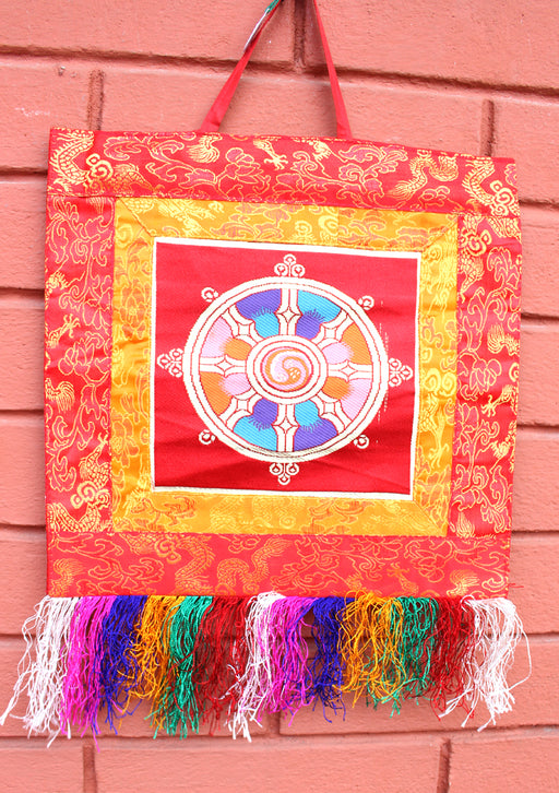 Wheel of Life Brocade Framed Wall Hanging Banner - nepacrafts