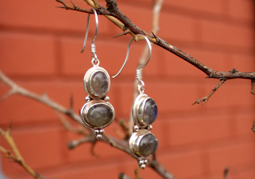 Shinning Labradorite Silver Sterling Double Drop Earrings - nepacrafts