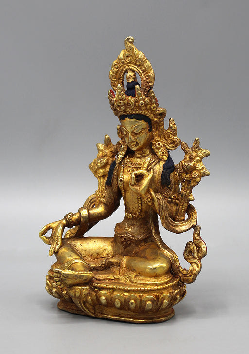 Exquisite Gold Plated Green Tara Statue 6""