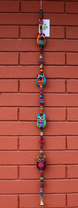 Colorful Owl Bell Felt Hanging - nepacrafts