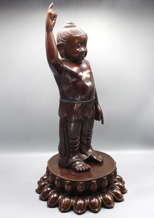 "Copper Oxidized Standing Buddha Statue 25"" - nepacrafts"