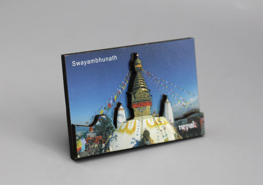 Swayambhunath Carved Wooden Fridge Magnet - nepacrafts