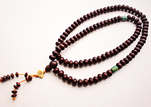 Bodhi Seed Mala with Turquoise Counter - nepacrafts