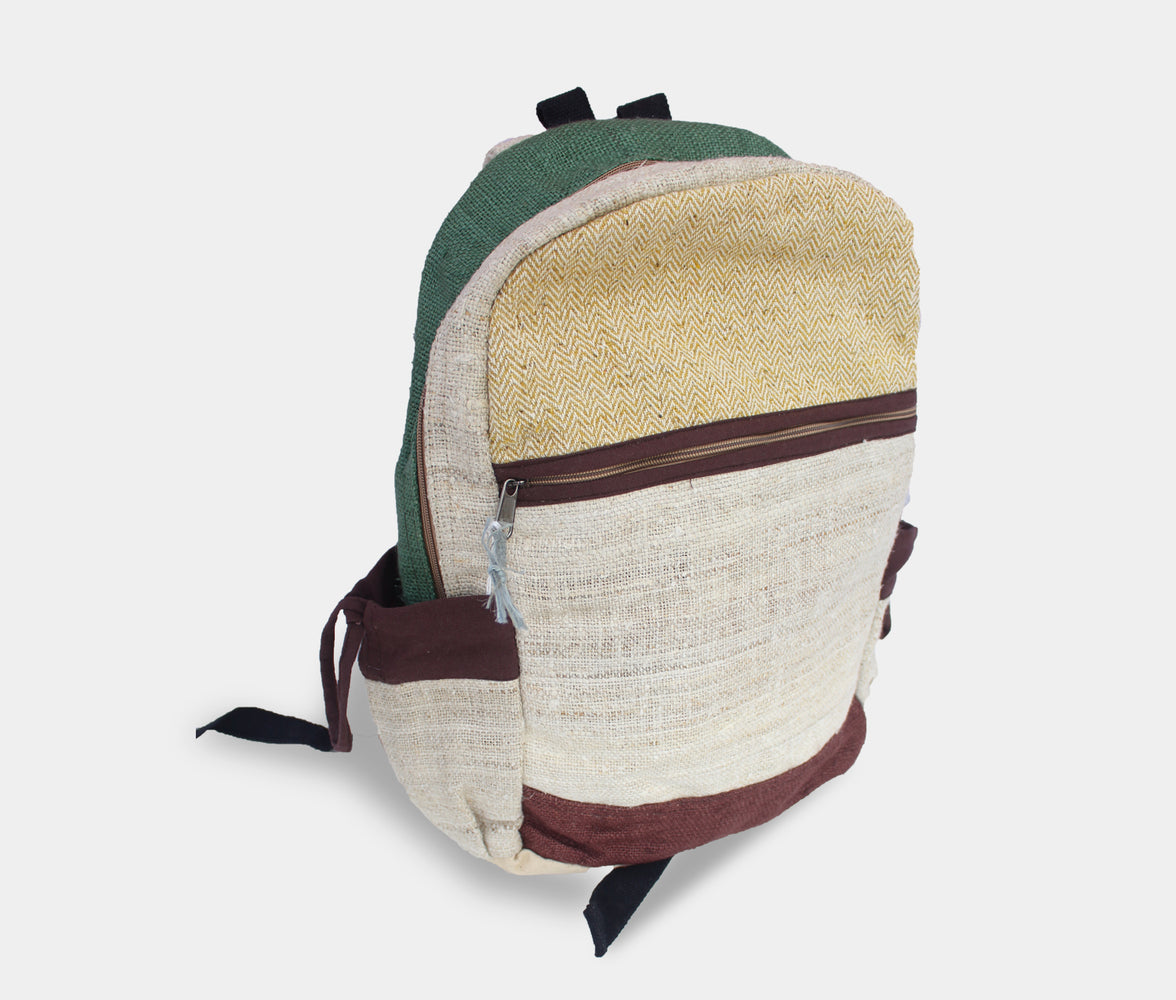 Durable Hemp Backpack with Cotton Patch - nepacrafts