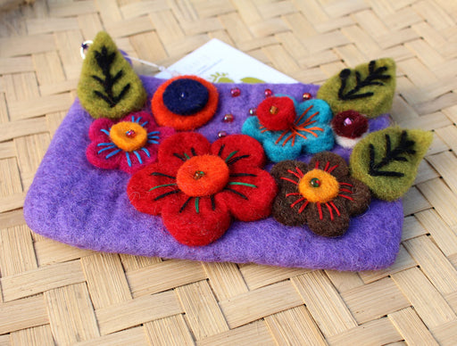 Felt Coin Purse decorated with flower & Beads - nepacrafts