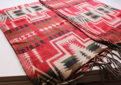 Cozy and Warm Hand Loomed Red Check Pattern Printed Yak Wool Shawl - nepacrafts