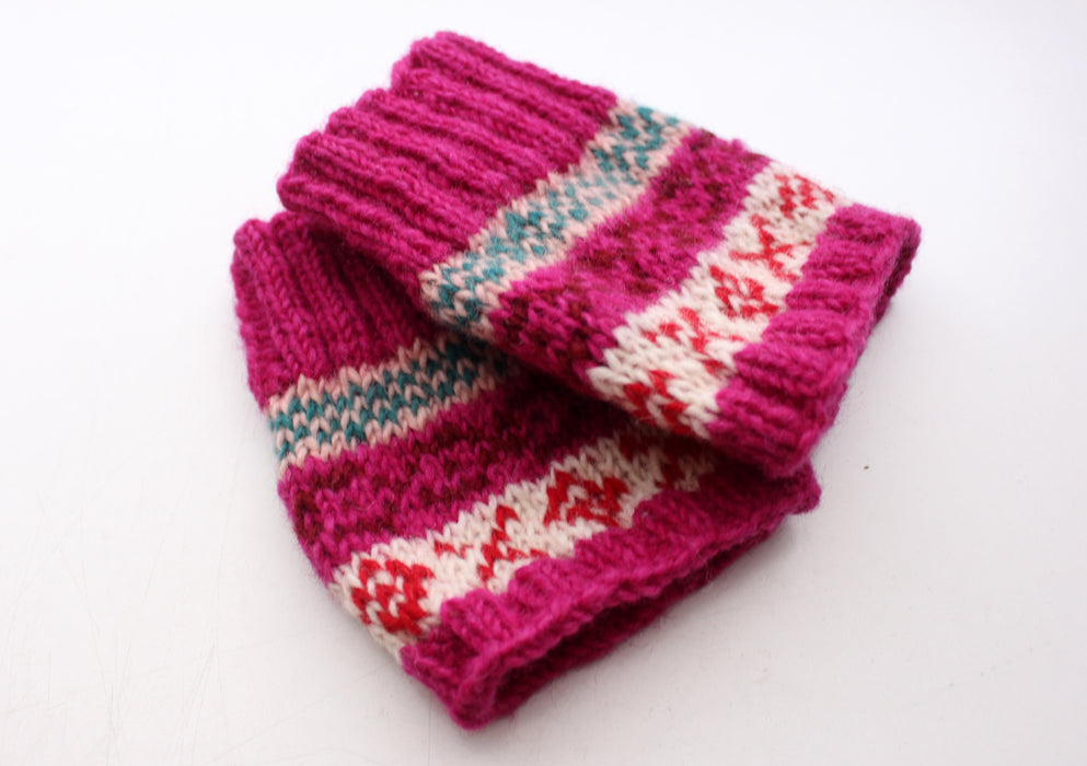 Royal Pink Multicolor Winter Woolen Short Legwarmers - nepacrafts