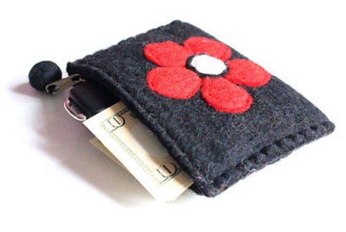 Black Felt Coin Purse - nepacrafts