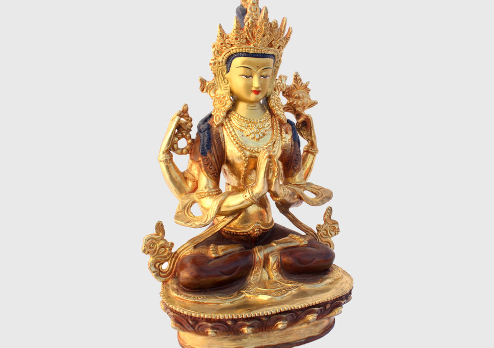 "Gold Plated Avalokisteswora Statue 8"" High SSST038 - nepacrafts"