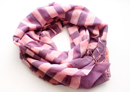 Light Pink Striped Purple 100% Water Pashmina Shawl - nepacrafts