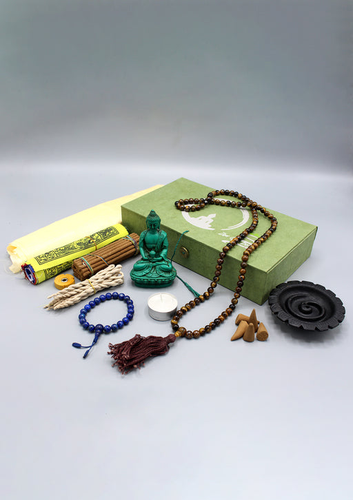 Buddha Statue, Incense and Prayer Flags Zen Gift Box