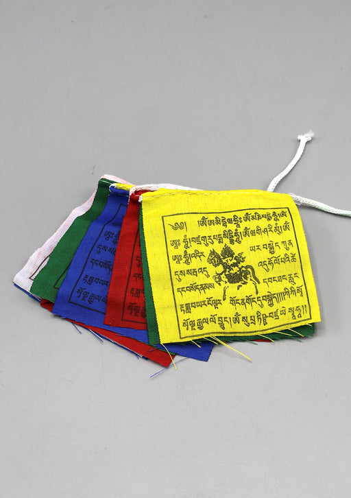Set of Five Mini Polyester Windhorse Prayer Flags, Tibet Flags