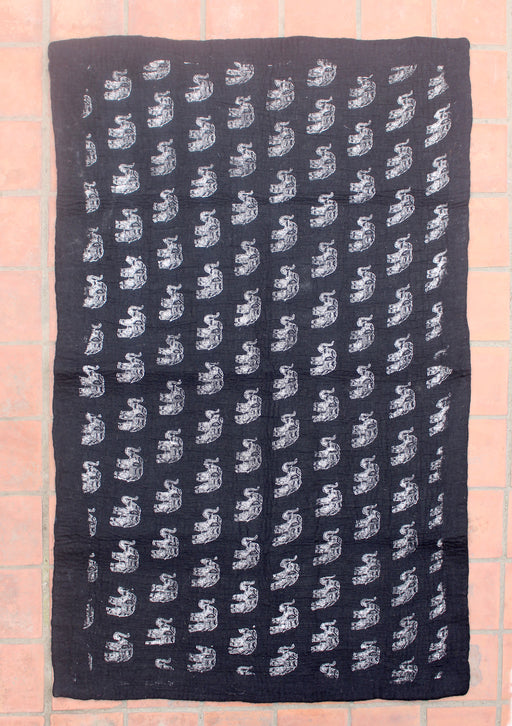 Elephant Print Black Felt Wool Elephant Print Indoor Rug - nepacrafts