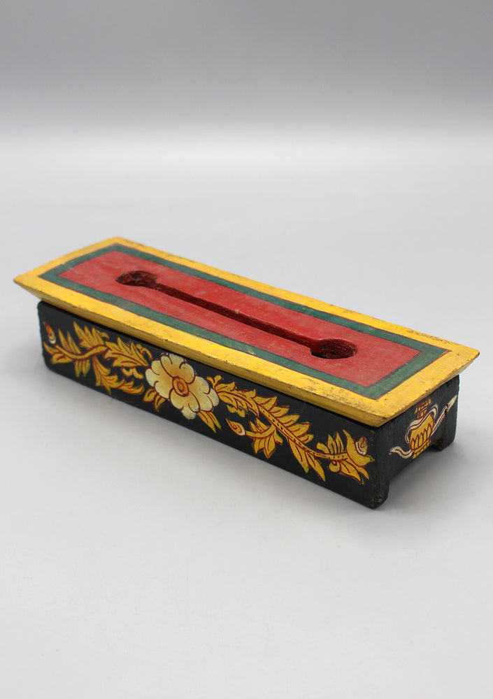 Flower Painted Wooden Incense Burner Box
