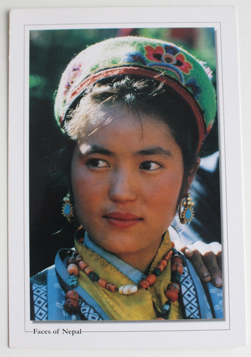 Faces of Nepal Postcard of Beautiful Girl in a Traditional Wear - nepacrafts