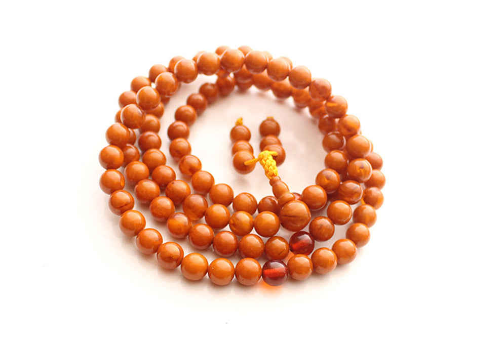Golden Faux Amber Round Beads Prayer Necklace - nepacrafts