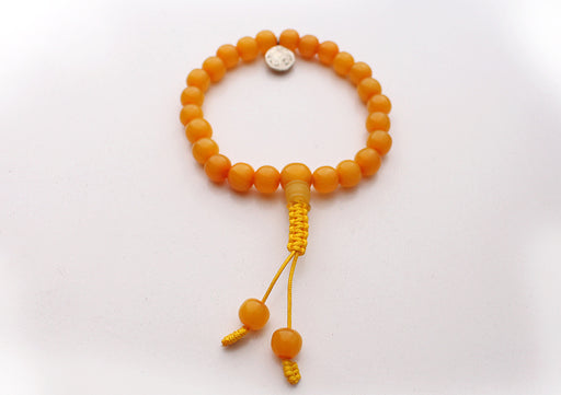 Faux Amber Beads Wrist Bracelet with Om Charm - nepacrafts