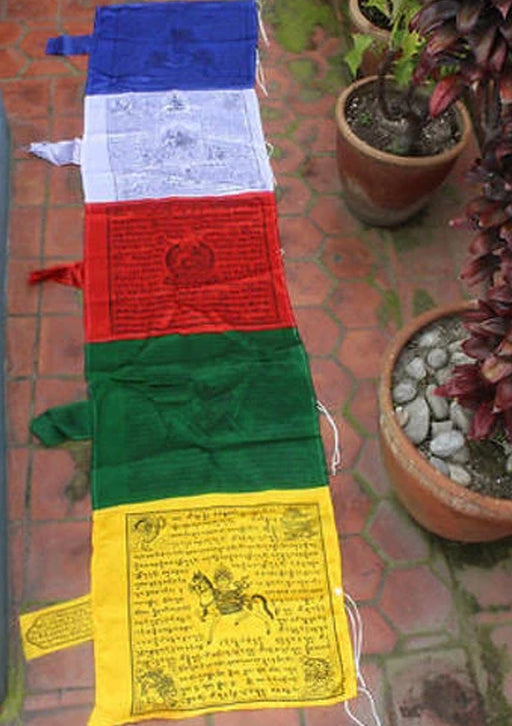 Polyester Mixed Silk Vertical Windhorse Prayer Flags