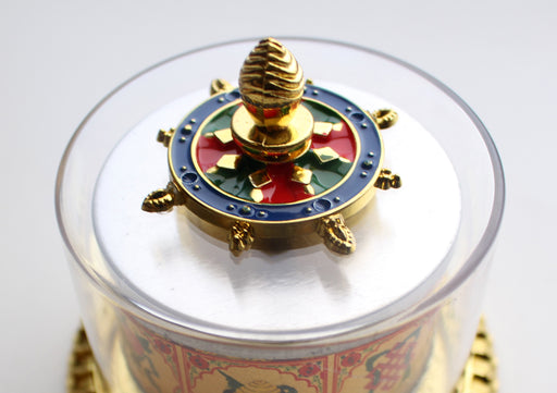 "Hand Spinning 8 Auspicious Symbol Painted Prayer Wheel 3.5"" - nepacrafts"