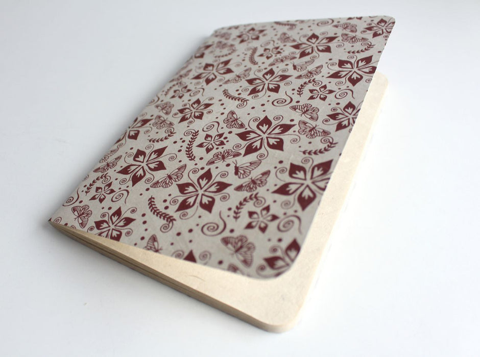 Flower Printed Nepalese Lokta Paper Journal Note Book - nepacrafts