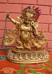 "Gold Plated 15"" High The Wrathful Deity Vajrapani Statue - NepaCrafts"