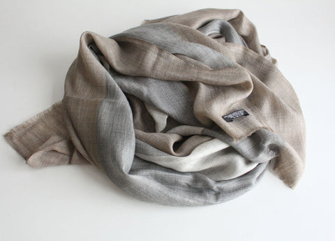 Gray Brown Exclusive Cashmere Shawl