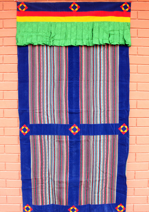 Multicolor Bhutanese Fabric Cotton Door Curtain with Velvet Border - nepacrafts