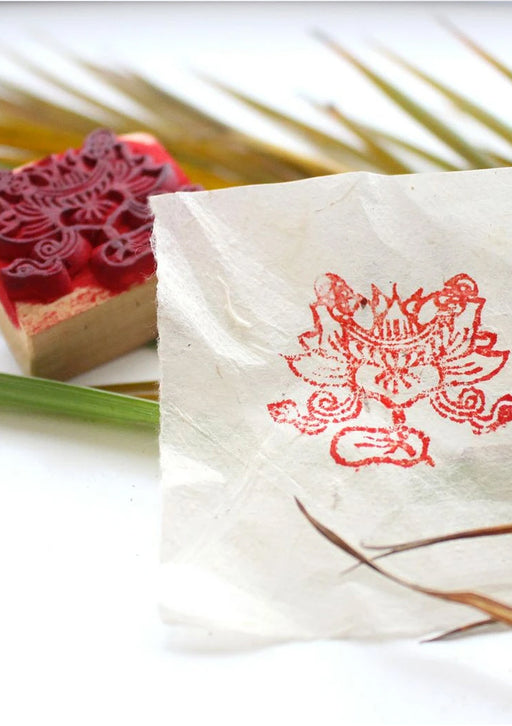 Auspicious Lotus Wooden Stamp