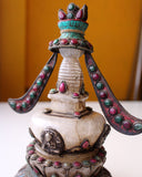 Gilt Copper and Crystal Stupa with Turquoise and Gemstone inlays - NepaCrafts