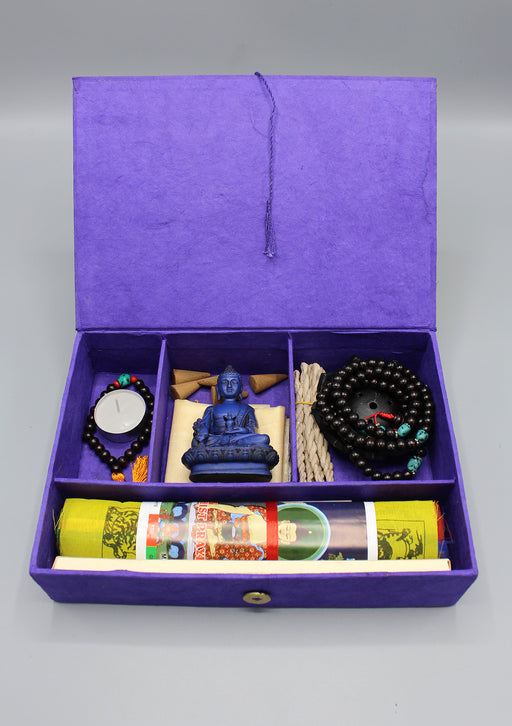 Prayer Flags, Mala and Statue Buddhist Travel Altar Box
