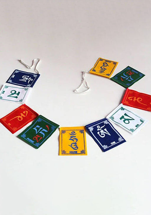 Om Mani Velvet Prayer Flags-Small