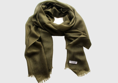 100% Exclusive Green Cashmere Stole from Nepal - NepaCrafts