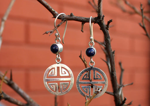 Round Lapis Inlaid Silver Sterling Drop Earrings - nepacrafts
