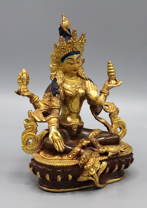 Partly Gold Plated Goddess Laxmi Statue