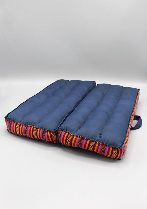 Navy Blue Foldable Large Mediation Cushion Gheri Border - nepacrafts
