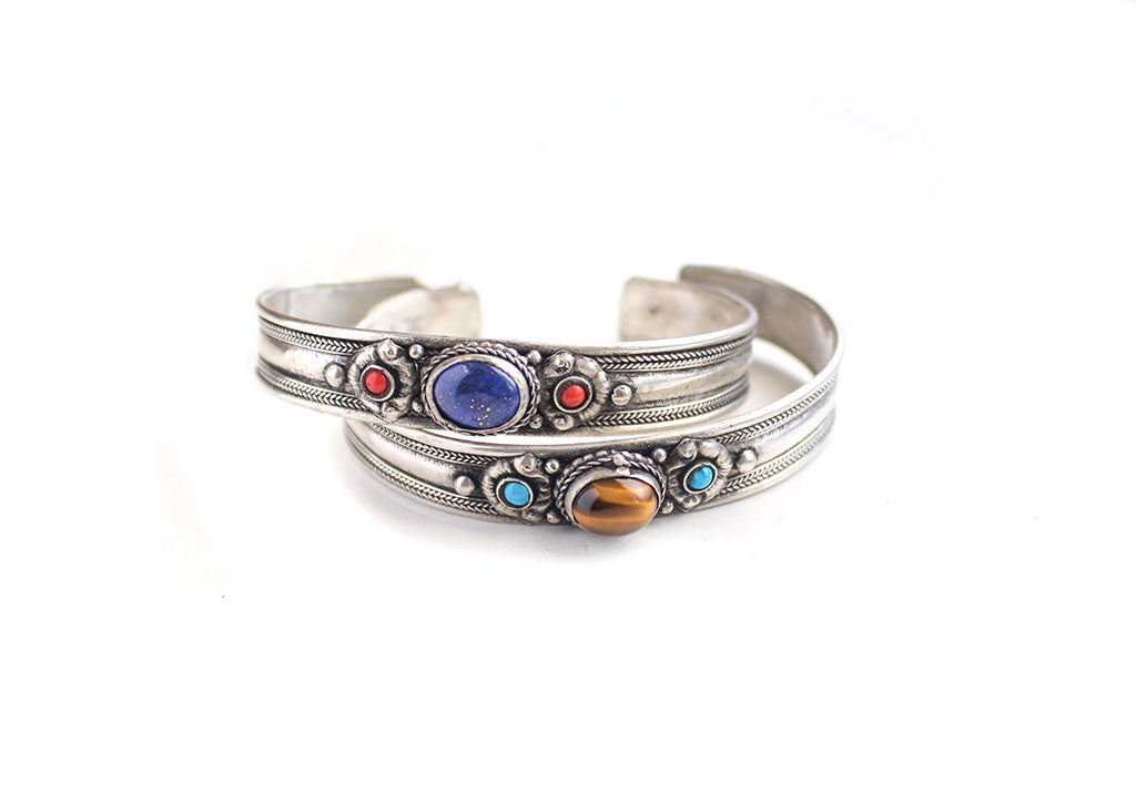 Silver Plated White Metal Inlaid Tibetan Bracelet - nepacrafts