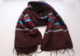 Maroon Yak Wool Shawl with Buttefly Pattern Handloomed in Nepal - NepaCrafts