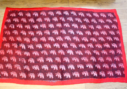 Red Border Maroon Felt Wool Elephant Print Indoor Rug - nepacrafts