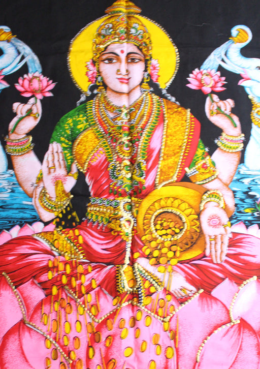 Hindu Goddess of Prosperity Laxmi Printed Cotton Tapestry Wall Hanging - nepacrafts