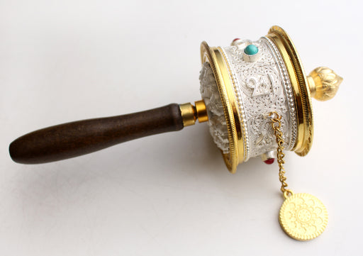 White Metal Tibetan Handheld Spinning Prayer Wheel Inlaid Coral and Turquoise - nepacrafts