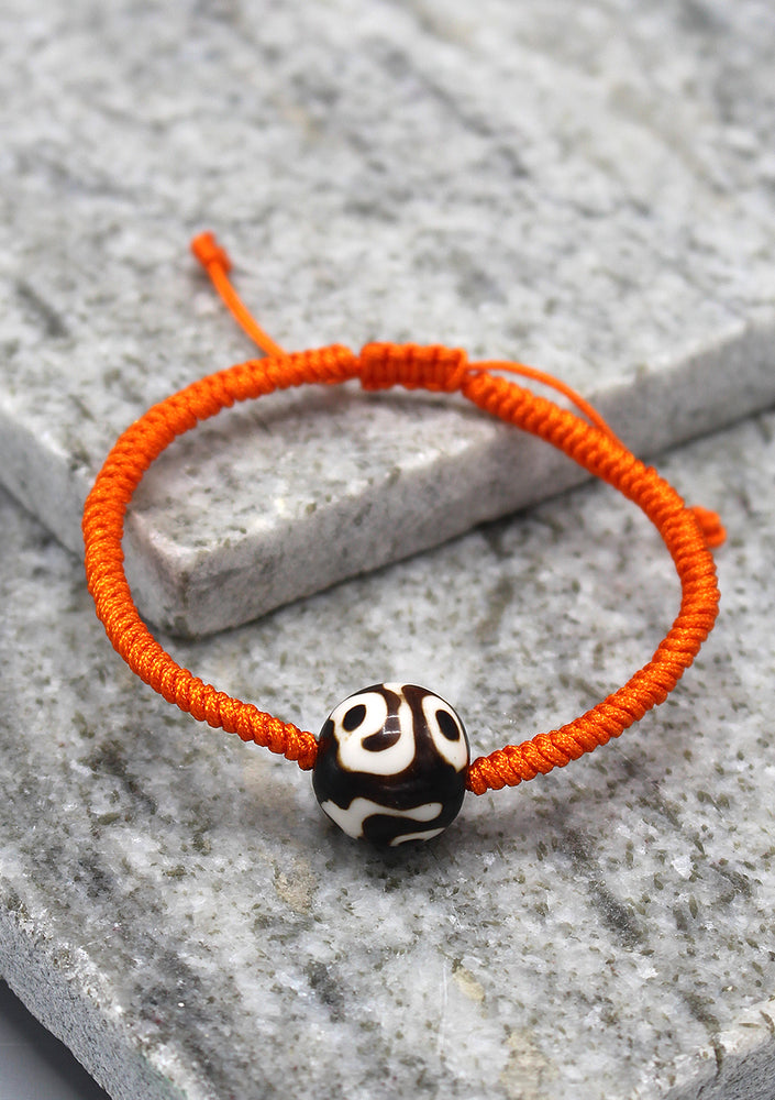 Lucky Knots Dzi Bead Bracelet in Orange Color
