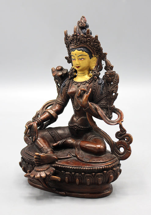 Partly Gold Plated Copper Oxidized Green Tara Statue