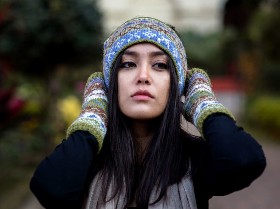 Olive Green Multicolor Woolen Head Band