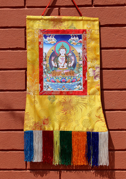 Silk Brocade Chenrezig Thangka Wall Hanging