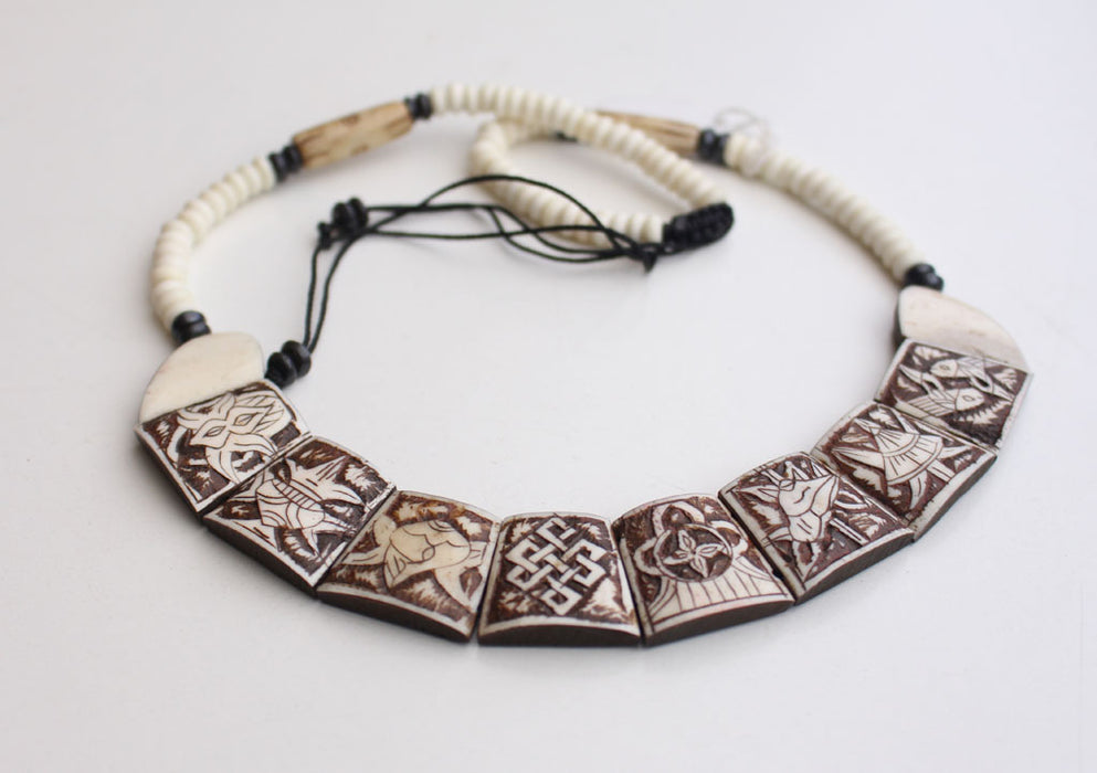Eight Auspicious Symbol Carved Yak Bone Necklace - nepacrafts