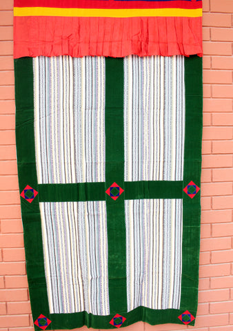 Bhutanese Woven Fabric with Velvet Border Tibetan Door Curtain Cover
