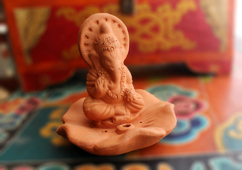 Lord Ganesh Seated on Lotus Terracotta Incense Holder - NepaCrafts